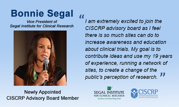Bonnie Segal on CISCRP Advisory Board